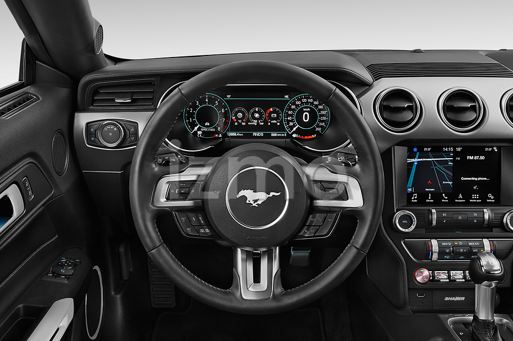 Car pictures of steering wheel view of a 2018 Ford Mustang Fastback Ecoboost 2 Door Coupe