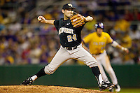 Relief pitcher Gabe Feldman #24 of the Wake Forest Demon Deacons in action against the LSU Tigers at Alex Box Stadium on February 18, 2011 in Baton Rouge, Louisiana.  The Tigers defeated the Demon Deacons 15-4.  Photo by Brian Westerholt / Four Seam Images