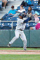 Cesar Galvez #6 of the Tri-City Dust Devils at bat during a game against the Everett AquaSox at Everett Memorial Stadium in Everett, Washington on July 28, 2014. Tri-City defeated Everett 6-5 in 11 innings.  (Ronnie Allen/Four Seam Images)