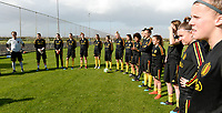 20190226 - LARNACA , CYPRUS :  illustration picture shows the players listening during a Matchday -1 training from The Belgian Red Flames prior to their game against the women team of Slovakia , on Tuesday 26 February 2019 at the Alpha Sports Grounds in Larnaca , Cyprus . This will be the first game in group C for Belgium during the Cyprus Womens Cup 2019 , a prestigious women soccer tournament as a preparation on the European Championship 2021 qualification duels. PHOTO SPORTPIX.BE   DAVID CATRY