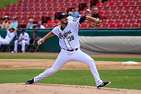 Kane County Cougars pitcher Cole Stapler (38) delivers a pitch during a Midwest League game against the Quad Cities River Bandits on July 1, 2018 at Northwestern Medicine Field in Geneva, Illinois. Quad Cities defeated Kane County 3-2. (Brad Krause/Four Seam Images)