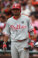 SAN FRANCISCO, CA - AUGUST 7:  Shane Victorino of the Philadelphia Phillies bats against the San Francisco Giants during the game at AT&T Park on August 7, 2011 in San Francisco, California. Photo by Brad Mangin