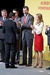 Spain's crown Prince Felipe and Princess Letizia shakes hands with actor Antonio Banderas during a ceremony to designate Spain Brand ambassadors. February 12, 2013. (ALTERPHOTOS/Alvaro Hernandez)