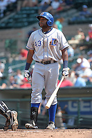Durham Bulls first baseman Brandon Allen #43 during a game against the Rochester Red Wings at Frontier Field on June 21, 2012 in Rochester, New York.  Durham defeated Rochester 14-8.  (Mike Janes/Four Seam Images)