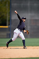 New York Yankees Wilkerman Garcia (7) during a Minor League Spring Training game against the Detroit Tigers on March 21, 2018 at the New York Yankees Minor League Complex in Tampa, Florida.  (Mike Janes/Four Seam Images)