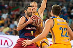 Herbalife Gran Canaria's player Sasu Salin and Xavi Rabaseda and FC Barcelona Lassa player Juan Carlos Navarro during the final of Supercopa of Liga Endesa Madrid. September 24, Spain. 2016. (ALTERPHOTOS/BorjaB.Hojas)