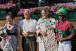 Connections of St. John's River, including jockey Jose Lezcano and trainer Andrew Leggio, Jr. celebrate in the winner's circle after the Delaware Oaks at Delaware Park, Stanton, DE, July 9, 2011. (Joan Fairman Kanes/Eclipsesportswire)