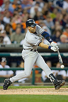 Derek Jeter #2 of the New York Yankees makes contact with the baseball at Comerica Park April 27, 2009 in Detroit, Michigan.  Photo by Brian Westerholt / Four Seam Images
