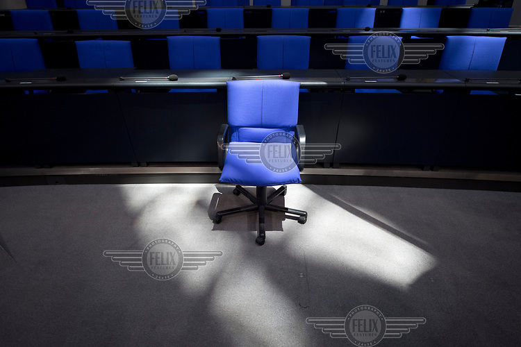 Seating in the the Bundestag plenary hall in advance of the upcoming session. Following German federal elections in 2017 the new Bundestag will have 709 members instead of 630.