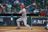 Hunter Kasuls (19) of the Louisiana Ragin' Cajuns follows through on his swing against the Kentucky Wildcats in game seven of the 2018 Shriners Hospitals for Children College Classic at Minute Maid Park on March 4, 2018 in Houston, Texas.  The Wildcats defeated the Ragin' Cajuns 10-4. (Brian Westerholt/Four Seam Images)