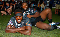Michael Kumbrirai with Ox Nche of the Cell C Sharks during the preseason rugby match between The Cell C Sharks and Russia at Jonsson Kings Park Stadium in Durban, South Africa on Friday, 10 January 2020. Photo: Steve Haag / stevehaagsports.com
