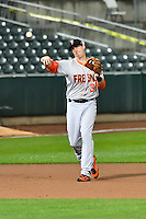 Matt Duffy (34) of the Fresno Grizzlies during the game against the Salt Lake Bees in Pacific Coast League action at Smith's Ballpark on April 13, 2016 in Salt Lake City, Utah. The Grizzlies defeated the Bees 6-0. (Stephen Smith/Four Seam Images)
