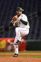 USF Bulls pitcher Cody Hernandez (19) delivers a pitch during a game against the Louisville Cardinals on February 14, 2015 at Bright House Field in Clearwater, Florida.  Louisville defeated USF 7-3.  (Mike Janes/Four Seam Images)