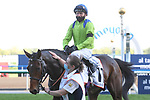 March 27, 2021: SUBJECTIVIST #11 ridden by Joe Fanning wins The Group 2 Dubai Gold Cup for Mark Johnston on Dubai World Cup Day, Meydan Racecourse, Dubai, UAE. Shamela Hanley/Eclipse Sportswire/CSM