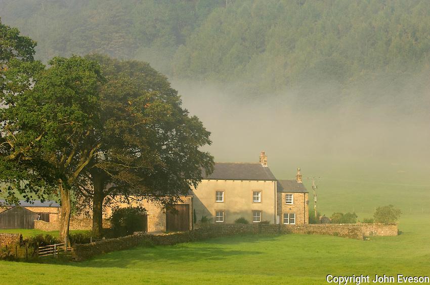 Mist and farm house, Whitewell, Lancashire....Copyright..John Eveson, Dinkling Green Farm, Whitewell, Clitheroe, Lancashire. BB7 3BN.01995 61280. 07973 482705.j.r.eveson@btinternet.com.www.johneveson.com