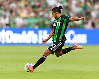 AUSTIN, TX - JUNE 19: Cecilia Dominguez #10 of Austin FC takes a shot at the San Jose goal during a game between San Jose Earthquakes and Austin FC at Q2 Stadium on June 19, 2021 in Austin, Texas.