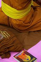 Buddhist Monks at the  Varanasi Sarnath  Buddhist Area, Temple and Dhaekh Stupa India