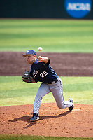 Liberty Flames starting pitcher Trevor Delaite (29) delivers a pitch to the plate against the Duke Blue Devils in NCAA Regional play on Robert M. Lindsay Field at Lindsey Nelson Stadium on June 4, 2021, in Knoxville, Tennessee. (Danny Parker/Four Seam Images)