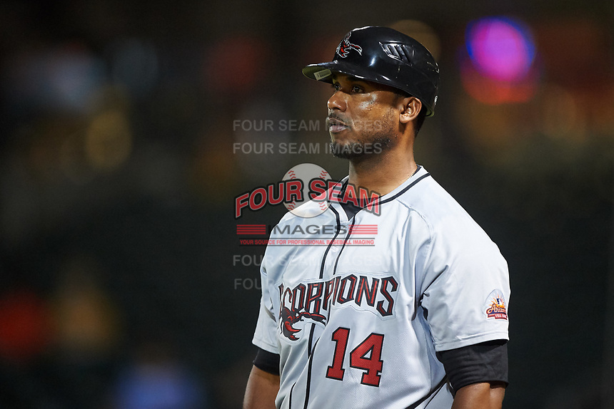Scottsdale Scorpions manager Cesar Martin (14), of the Toronto Blue Jays organization, during an Arizona Fall League game against the Mesa Solar Sox on September 18, 2019 at Sloan Park in Mesa, Arizona. Scottsdale defeated Mesa 5-4. (Zachary Lucy/Four Seam Images)