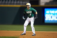 Reece Hampton (2) of the Charlotte 49ers takes his lead off of first base against the Georgia Bulldogs at BB&T Ballpark on March 8, 2016 in Charlotte, North Carolina. The 49ers defeated the Bulldogs 15-4. (Brian Westerholt/Four Seam Images)