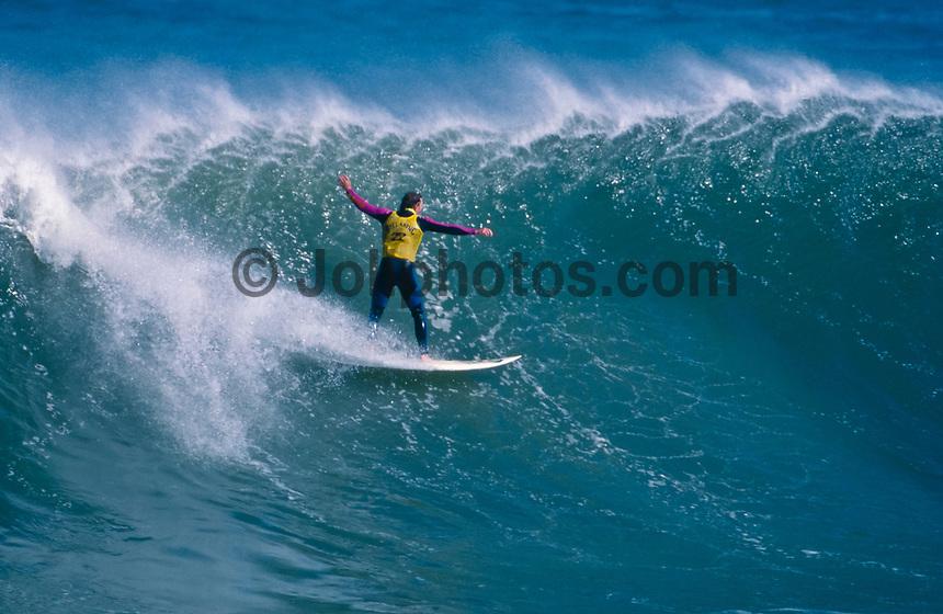 Local resident and Mundaka surf shop owner Craig Sage (AUS), surfing Mundaka river-mouth during an epic swell in November 1989. Mundaka, Basque Country, Spain. Photo: joliphotos.com