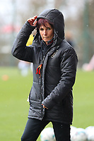 Assistant coach Anne Radermacher pictured during the warm up before a female soccer game between Standard Femina de Liege and Sporting Charleroi on the 16th matchday of the 2020 - 2021 season of Belgian Scooore Womens Super League , saturday 13 th of February 2021  in Angleur , Belgium . PHOTO SPORTPIX.BE | SPP | SEVIL OKTEM