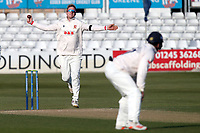 Simon Harmer in bowling action for Essex during Essex CCC vs Durham CCC, LV Insurance County Championship Group 1 Cricket at The Cloudfm County Ground on 17th April 2021