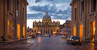 Fine Art Landscape and Travel Photograph of Saint Peter's Basilica in Rome Italy. The lighting was falling quickly as the street lighting was beginning to illuminate the church and the streets in Rome Italy.