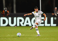 LAKE BUENA VISTA, FL - AUGUST 01: Marvin Loría #44 of the Portland Timbers passes the ball during a game between Portland Timbers and New York City FC at ESPN Wide World of Sports on August 01, 2020 in Lake Buena Vista, Florida.