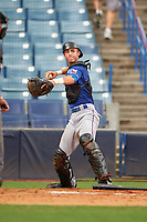 Brandon Martorano (8) of Christian Brothers Academy in Marlboro, New Jersey playing for the Texas Rangers scout team during the East Coast Pro Showcase on July 28, 2015 at George M. Steinbrenner Field in Tampa, Florida.  (Mike Janes/Four Seam Images)