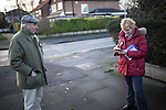© Joel Goodman - 07973 332324 .  10/02/2014 . Sale , UK . Neil and Christine Hamilton leafleting and knocking on doors on Wendover Road in Sale  . Neil Hamilton , Deputy Chairman of UKIP , and his wife , Christine Hamilton , campaign for UKIP on the trail for the Wythenshawe and Sale East by-election , today (Monday 10th February 2014) . UKIP 's candidate , John Bickley , is widely predicted to come second . The election was called after the death of the Labour MP , Paul Goggins . Photo credit : Joel Goodman