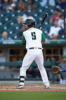 Seby Zavala (5) of the Caballeros de Charlotte at bat against the Buffalo Bisons at BB&T BallPark on July 23, 2019 in Charlotte, North Carolina. The Bisons defeated the Caballeros 8-1. (Brian Westerholt/Four Seam Images)
