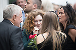 © Joel Goodman - 07973 332324 . 30/06/2017 . Stockport , UK . Coronation Street stars including JENNIE MCALPINE at the service . The funeral of Martyn Hett at Stockport Town Hall . Martyn Hett was 29 years old when he was one of 22 people killed on 22 May 2017 in a murderous terrorist bombing committed by Salman Abedi, after an Ariana Grande concert at the Manchester Arena . Photo credit : Joel Goodman