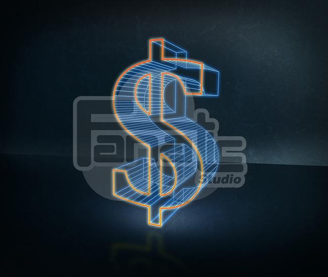 Illustrative image of three dimensional dollar sign over black background