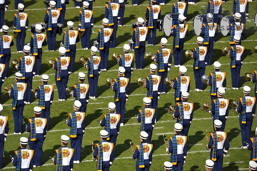 Oct. 29, 2011; The Notre Dame Marching Band stands ready on the field...Photo by Matt Cashore
