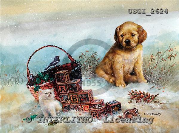 GIORDANO, CHRISTMAS ANIMALS, WEIHNACHTEN TIERE, NAVIDAD ANIMALES, paintings+++++,USGI2624,#XA# dogs,puppies