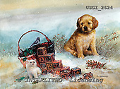 GIORDANO, CHRISTMAS ANIMALS, WEIHNACHTEN TIERE, NAVIDAD ANIMALES, paintings+++++,USGI2624,#XA# dogs,puppies