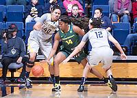 Justine Hartman of California defending Jillian Alleyne of Oregon at Haas Pavilion in Berkeley, California on January 5th, 2014. California defeated Oregon
