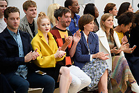 Ellie Bamber, Dame Kristin Scott Thomas and Charity Wakefield<br /> front row at the Jasper Conran London Fashion Week SS18 catwalk show, London<br /> <br /> ©Ash Knotek  D3431  15/09/2018
