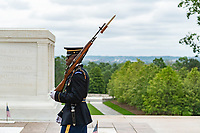 A sentinel walks the mat at the Tomb of the Unknown Soldier the morning of Memorial Day at Arlington National Cemetery, Arlington, Virginia, May 25, 2020. (U.S. Army photo by Elizabeth Fraser / Arlington National Cemetery / released)