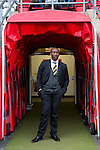 Dagenham and Redbridge 1 Burton Albion 3, 21/02/2015. Victoria Road, League Two. Jimmy Floyd Hasselbaink prior to kick off. Burton Albion moved to the top of League Two following a hard-fought win over Dagenham & Redbridge played in-front of 1,718 supporters. Photo by Simon Gill.