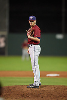 Mahoning Valley Scrappers relief pitcher Riley Echols (35) looks in for the sign during a game against the Batavia Muckdogs on August 29, 2017 at Dwyer Stadium in Batavia, New York.  Batavia defeated Mahoning Valley 2-0.  (Mike Janes/Four Seam Images)