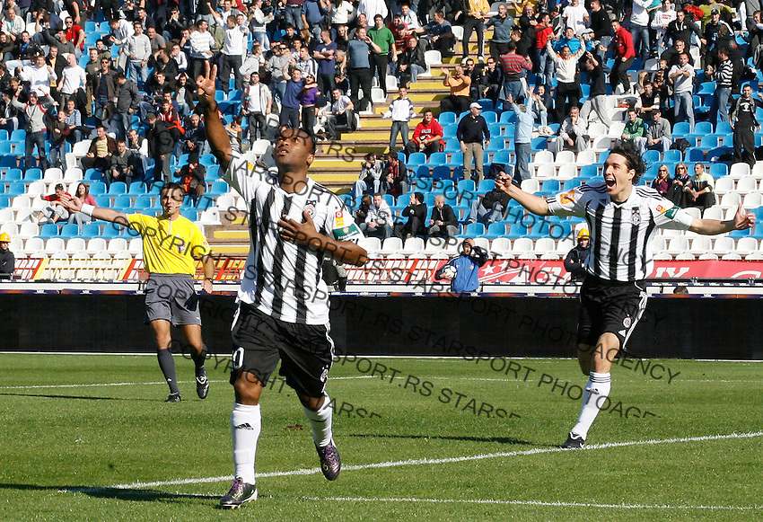 Almami da Silva Moreira of Partizan Belgrade, center and Cleverson Cordova CLEO, celebrate his goal, during the Serbian League soccer match in Belgrade, Serbia, Saturday, October  24, 2010. (Srdjan Stevanovic/Starsportphoto.com)
