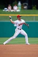 Indianapolis Indians shortstop Erik Gonzalez (37) throws to first base during an International League game against the Syracuse Mets on July 17, 2019 at Victory Field in Indianapolis, Indiana.  Syracuse defeated Indianapolis 15-5  (Mike Janes/Four Seam Images)
