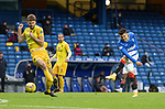 25.10.2020 Rangers v Livingston: Ianis Hagi fires a shot past Jon Guthrie which is well saved by keeper Max Stryjek