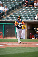 Nate Mondou (10) of the Las Vegas Aviators at bat against the Salt Lake Bees at Smith's Ballpark on July 25, 2021 in Salt Lake City, Utah. The Aviators defeated the Bees 10-6. (Stephen Smith/Four Seam Images)