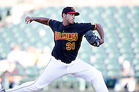 June 21, 2009:  Relief Pitcher Armando Gabino of the Rochester Red Wings delivers a pitch during a game at Frontier Field in Rochester, NY.  The Rochester Red Wings are the International League Triple-A affiliate of the Minnesota Twins.  Photo by:  Mike Janes/Four Seam Images