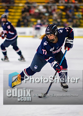 8 February 2020: University of Connecticut Husky Forward Amy Landry, a Freshman from Beaconsfield, Quebec, in first period action against the University of Vermont Catamounts at Gutterson Fieldhouse in Burlington, Vermont. The Huskies defeated the Lady Cats 4-2 in the first game of their weekend Hockey East series. Mandatory Credit: Ed Wolfstein Photo *** RAW (NEF) Image File Available ***