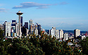 View of Seattle, Washington, The Space Needle and Mt. Rainer on May 20th, 2019.