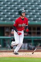 Fort Wayne TinCaps Grant Little (1) runs to first base during a Midwest League game against the Fort Wayne TinCaps at Parkview Field on April 30, 2019 in Fort Wayne, Indiana. Kane County defeated Fort Wayne 7-4. (Zachary Lucy/Four Seam Images)